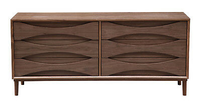 Arne Vodder Lowboy Chest Double Dresser Retro Modern Cabinet, Walnut Wood