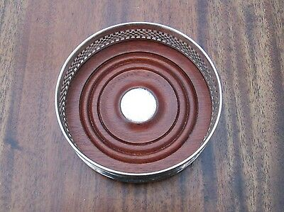 Antique Edwardian / 1920's English Silver Plate Wine Coaster - Mahogany Base
