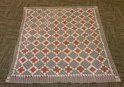 ANTIQUE QUILT HAND SEWN W/ NOTE ATTACHED SEE ITS STORY  year 1872 please L@@K