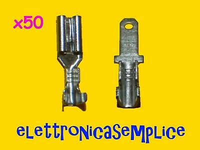 faston stagnato 2,8 capicorda misti 25 femmina + 25 maschio (50 pz tot.) (C85)