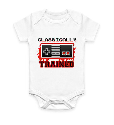 Classically Trained Gamer Nerd SNES Geek Baby Grow Body Suit Vest Gift