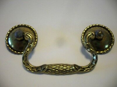 Vintage Drop Bail Drawer Pull French Gilt Antique Brass & Plated Steel ELGIN