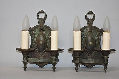 "Neo Classic Pair Cast Bronze Wall Sconce with Green Original Patina Circa 1920""s"