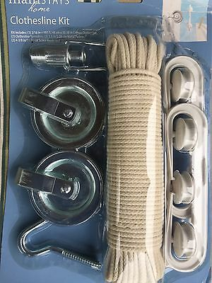 """Complete Clothesline Pulley Kit 3/16"""" X 100' Cotton Line And All Hardware Needed"""