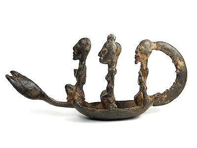 Rare AfricanTribal Antique Dogon Cast Bronze SPIRIT BOAT statue