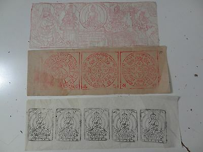 Old Mongolian Tibetan  Buddhist Various Woodblock Prints On Paper 3 Pc
