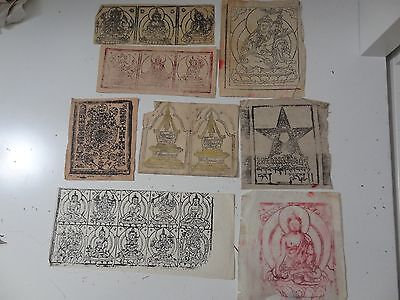 Old Mongolian Tibetan  Buddhist Various Woodblock Prints On Paper 8 Pc