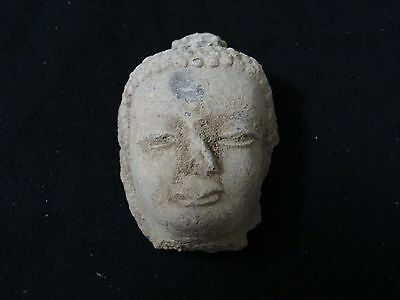 Antique Mongolian Buddhist Clay Buddha Head Tsa Tsa Fragment