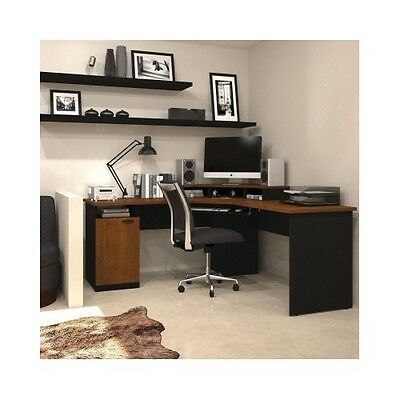Corner Computer Desk Workstation Home Office Furniture Table Large Brown/Black
