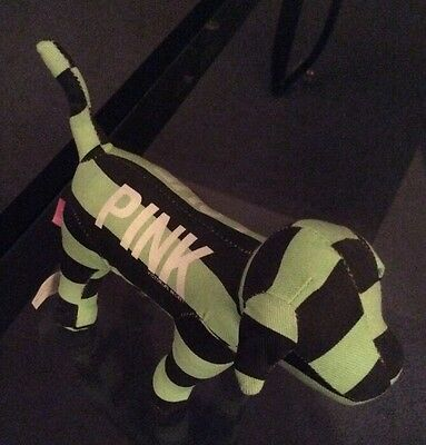 COLLECTIBLE Victoria Secret PINK dog ( green and black stripped)
