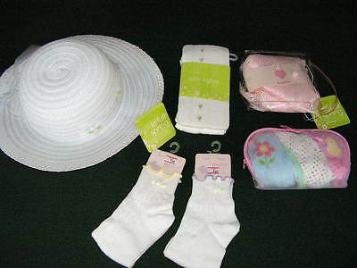 Easter Spring Accessories~Girls Sz 7-14~White Brimmed Hat~Shawl~Tights~Socks