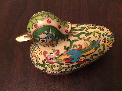 Unique Vintage Chinese Cloisonne Enamel On Brass Duck Box, Turquoise