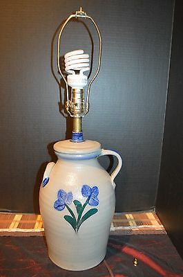 Rowe Pottery Works 2000 Handmade Lamp w/ Blue Shade, 26""