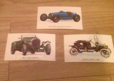 Old Postcard Lot x 3 Vintage Cars by Collectors Reproductions Unused