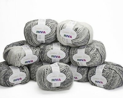 10 x 50g. Shades of Pale Greys Debbie Bliss Riva - sh 21