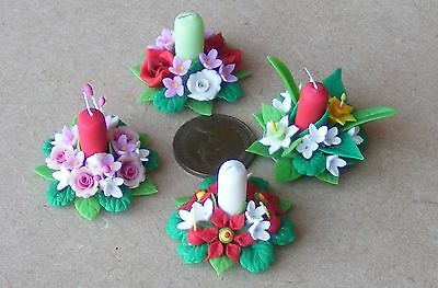 1:12 Scale 3cm Diameter Floral Candle Ring Dolls House Miniature Centre Piece