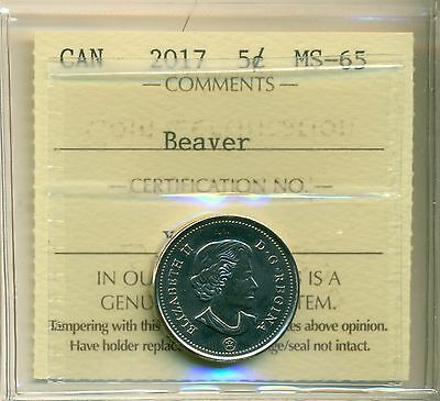 "2017 Canada 5 Cent ""Beaver"" Certified ICCS MS-65"