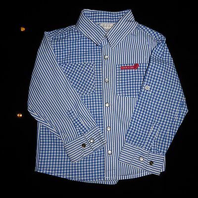 Gorgeous MAMAS & PAPAS Boys Checked / Striped Shirt Roll Up Sleeves 18-24 months
