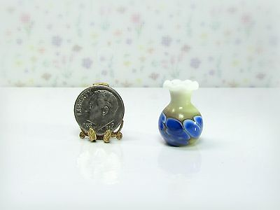 Dollhouse Miniature Whitte, Tan & Blue Glass Vase, German Hand-Blown