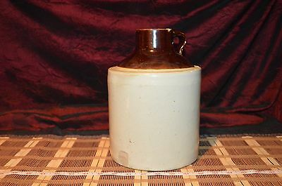 "Vintage Pottery 1 Gallon Two Tone Clay Jug, Wide Mouth, 10 1/8""x7 3/8"""
