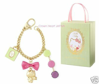 Authentic LADUREE Paris x Hello Kitty Bag Charm Key Chain in Gift Box JAPAN Rare