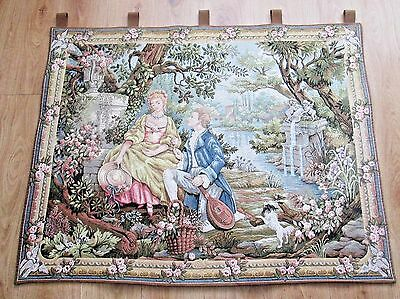 Extra Large French Wall Hanging Tapestry Of The Lovers - Very Detailed Beautiful