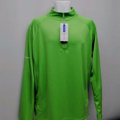 New Mens XL Second Skin long sleeve Electric Green HydraWick golf pullover layer
