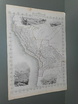 100% Original Peru And Bolivia  Map By Tallis C1855 Original Colour