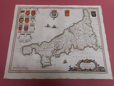 100% Original Large Cornwall Map By J Blaeu C1648 Vgc Hand Coloured