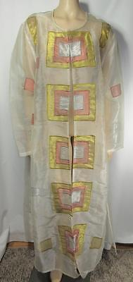 L'AFFAIRE Long Sleeve Sheer Beige Gold Silver Sari Saree Robe Rayon One Size