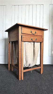 Antique Oak Arts and Crafts sewing box - storage table - works table