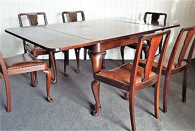 Antique style vintage Queen Anne extending dining table + 6 chairs set
