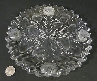 "Antique AMERICAN BRILLIANT Cut Glass ALLEN LOTUS FLOWER Heavy 9.25"" Plate ABP"
