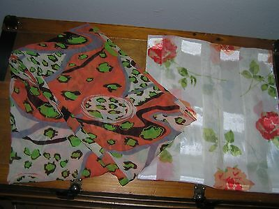 Lot of 2 Cream & Orange Floral Flower Green & Brown Abstract Neck Tube Women's