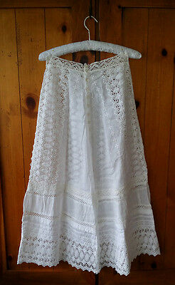 Antique DRESS SKIRT c.1890 Vintage EDWARDIAN PERIOD Fashion Embroidered LACE