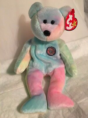 00d8edc900b TY Beanie Baby - BB BEAR the Birthday Bear - Pristine with Mint Tags -  RETIRED