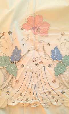 "Vintage MADEIRA EMBROIDERED Bed Sheet Floral 88"" x 96"""
