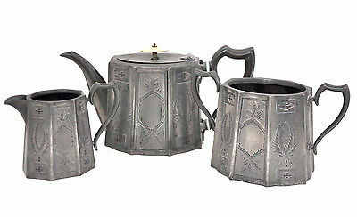 Vintage 3 Piece Pewter Tea Service by Kendal & Dent London