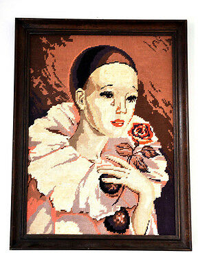 Vintage French 57 x 43cm Framed Traditional Peirrette Harlequin Tapestry Picture