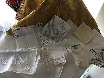 """Lot -12 Vintage Embroidered/Lace/Linen Ladies Handkerchiefs - 3 with Letter """"A"""""""