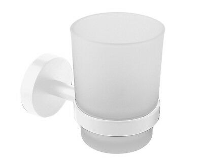 Job Lot of 10 x Bathroom Tumbler Holder Frosted Glass Wall Mounted White Croydex