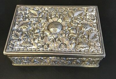 Continental Sterling Silver Repousse Box Pre Raphaelite Style