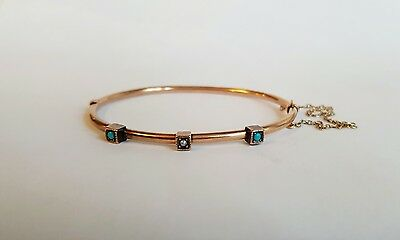 NICE QUALITY VICTORIAN HINGED BRACELET WITH SEED PEARLS & TURQUOISE 10k GOLD