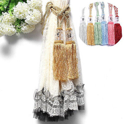 1 Pair Crystal Beaded Tiebacks Tassel Curtain Tie Backs / Tieback Fashion WH