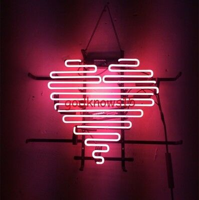 RARE Fitz and the Tantrums Heart PINK REAL GLASS BEER BAR Club NEON LIGHT SIGN