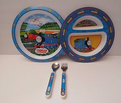 2005 Thomas & Friends The First Years Compartment Plate Spoon/Fork & Pecoware