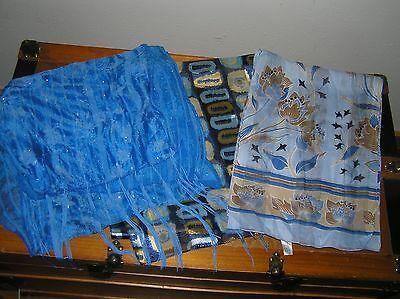 Lot of 3 Bright Blue with Rhinestones & Fringe Gold Abstract Brown Floral Flower