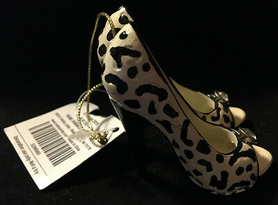 NWT High Heel Black Leopard Spot Shoes Stiletto Ornament for Fashion Diva