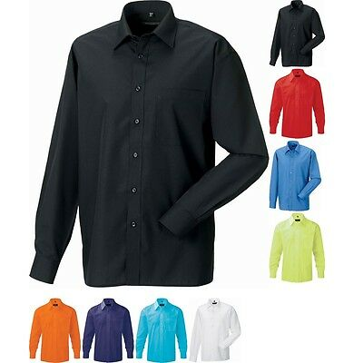 Mens Russell Long Sleeve Poly Cotton Easycare Poplin Shirt (S to 4XL)