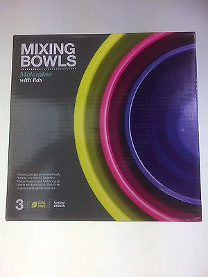 Mixing Bowls Melamine Set Of 3 With Lids Green Purple & Blue